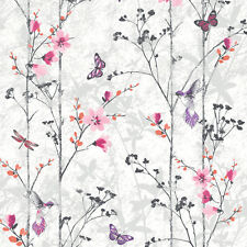 Eden Pink Floral Butterflies and Birds Wallpaper by Muriva 102550