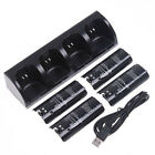 Black Remote Controller Charger Dock Station + 4 x Battery for Nintendo Wii