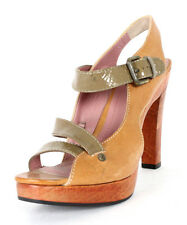 DEREK LAM Tan Leather & Olive Patent Strappy Wood Platform Sandals 9
