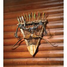 Archery Bow Rack Storage Arrows Rustic Wood Compound Handcrafted Den Hunting