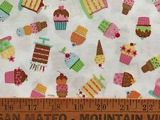 "Vintage Cotton Quilt Fabric ""A Cupcake A Day"" Ellen Krans  White BTHY"
