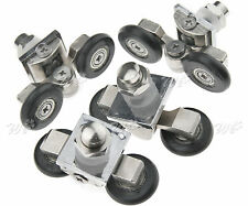 4 x 25mm Twin Wheels Bottom Bathroom Shower Door Rollers Runners Sliding Pulleys
