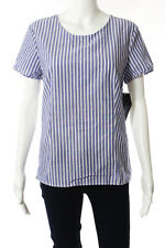 New Zara Basic Collection White Blue Cotton Striped Short Sleeve Blouse Size L