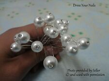 Pearl Hair Pin x 6 White Single Crystal Wedding Bridal Decoration Accessory - uk