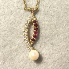 14K Diamond,Ruby and Pearl Pendant and Chain ~ Estate Jewelry
