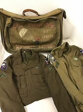 "WW2 Original 511th Airborne ""Angels"" Named Paratrooper Grouping Painted Bag"
