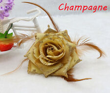 1PCS Champagne Feather Rose Corsage Wrist Flower Bridal Headpieces brooch