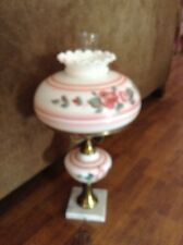 Beautiful vintage marble base pink gloral GWTW table lamp