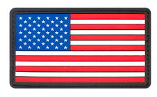 US Military Red White & Blue PVC USA US Rubber Velcro American Flag Patch