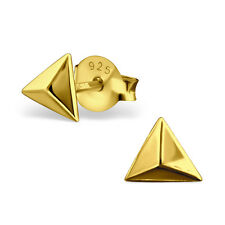 GOLD oltre 925 Argento Sterling Orecchini-Plain Triangolo Piramide Borchie - 5mm
