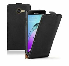 SLIM BLACK Leather Flip Case Cover Pouch For Mobile Phone Samsung Galaxy A5 2016