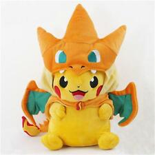 Cute 9'' Plush Pokemon Pikachu With Charizard hat Soft Toy Stuffed Animal Doll