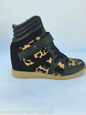 ZARA LEOPARD ANIMAL PRINT LEATHER WEDGE SNEAKERS TRAINERS SIZE UK4/EUR37/US6.5