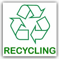 Recycling Text Self Adhesive Bin Sticker-Printed Recycle Logo Sign-Green White