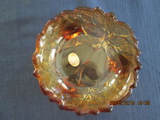 Tiara Indiana Glass Sweet Pear Relish or Candy Dish Burnt Honey Amber with feet
