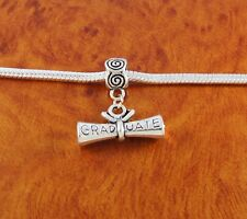 Diploma graduate charm slider bead for European charm bracelet or necklace