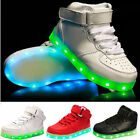 Kids Boys Girls LED Light Flashing Sneakers USB Charge Lace up Sneakers Trainer