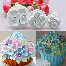 3pcs Hydrangea Fondant Cake Decorating SugarCraft Plunger Cutter Flower Mold