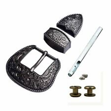 "1-1/2"" Wide Western Antique Black/Silver Engraved Belt Buckle Set Cowboy buckles"