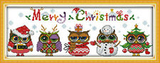 CHRISTMAS OWLS COUNTED CROSS STITCH KIT 14 COUNT AIDA 48 x 18CM *NEW*