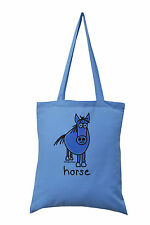 New TOTE BAG: 'HORSE!' Blue, 100% cotton