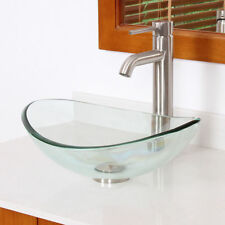 Oval Clear Tempered Glass Bathroom Vessel Sink Faucet Drain Combo