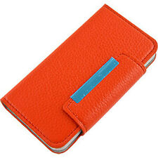 For Apple iPhone 5 5S SE Premium Wallet Case Pouch Flip Cover Orange