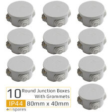 10 x Round Electric IP44 Junction Box & Grommets Outdoor Waterproof 80 x 40mm