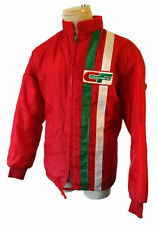 Racing stripe vintage jacket cafe trucker red faux fur crew pit windbreaker mod