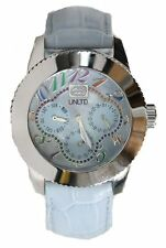 NEW-MARC ECKO UNLTD SILVER TONE ,WHITE LEATHER BAND,THE LUCKY WATCH E11532L1
