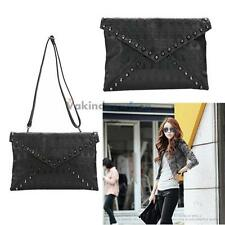 V1NF Punk  Skull Spike Envelope Woman Lady Leather Clutch Handbag Bag  Black