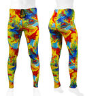 Aero Tech Designs Mens Spandex Tights Exercise Compression Yellow Tie Dye