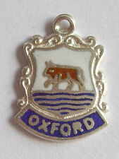 OXFORD    Vintage Sterling Silver and Enamel Shield Travel Charm