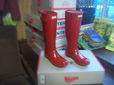 Brillo Hunter Wellies Wellingtons en Halifax Talla 4 Rojo Militar Original Damas