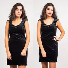 VELVET DRESS WOMENS VINTAGE 90'S SCOOP NECK GRUNGE GOTHIC FITTED BODY CON 12