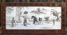 Vintage Asian Chinese Framed Wall Art Picture Mother of Pearl Inlay Chinoiserie
