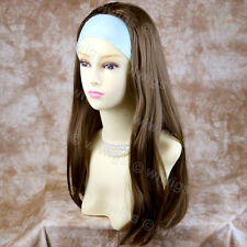 Light Brown 3/4 Fall Hair Piece Long Straight Lady Half Wig from WIWIGS UK