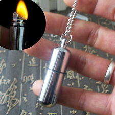 1pc Waterproof Survival Lighter Keyring Camping Pocket Key Chain Gear Fire Stash