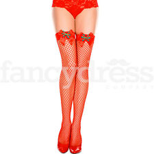 Music Legs Lycra Fence Net Thigh Highs with Tartan Bow Stockings Fishnet