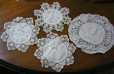 4 Vintage Lace Cotton Ecru Hand Embroidered Round Doilies
