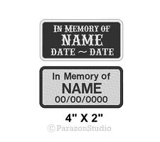 """Custom Embroidered In Memory Of Motorcycle Biker MC Sew on Patch 4"""" x 2"""" (A)"""