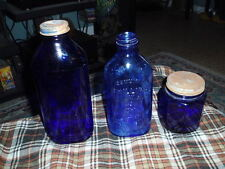 Vintage PHILLIPS MILK OF MAGNESIA - HALEY'S - NOXEMA JAR Cobalt Glass Lot Of 3