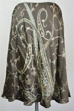 NWT ANN TAYLOR 100% Silk Brown Green Paisley Design Skirt RRP $99 Womens SZ 12P