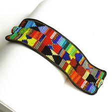 MULTI-COLOR Glass BEADED Wide CUFF BRACELET Boho Hippie Tribal Gypsy Ethnic