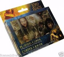 LORD OF THE RINGS SET OF 2 POKER SIZE DECKS OF CARDS! IN A COLLECTOR'S TIN! NEW!