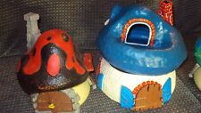 PEYO SCHLEICH BULLY SMURF HOUSE LOT 1978 Two Houses. Rare Vintage.Mushroom House