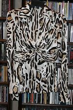 Cache Black Brown White Silk Leopard print Blouse Shirt Ladies sz S (b112)