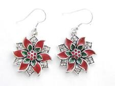 Poinsettia Red Green Crystal Silver Hook Wire Earrings Jewelry Christmas Holiday