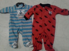 ONE PIECE PAJAMA DOG & MOOSE LOT OF 2 LONG SLEEVE FOOTED PJ 'S 3 MONTH SO CUTE !
