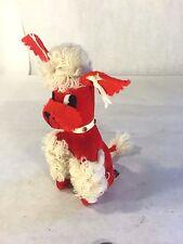Vtg Dakin Dream Pet Red Felt Velveteen Christmas French Poodle Dog Japan Putz